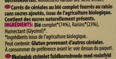 Wholegrain wheats raisin - Ingrédients