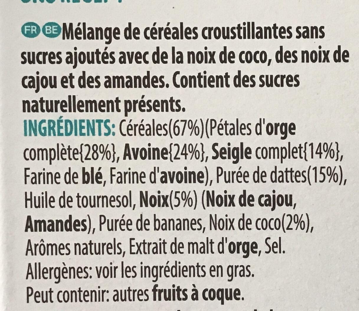 Céréales Extra Sans Sucres AjoutésAmandesCajouCoco - Zutaten - fr