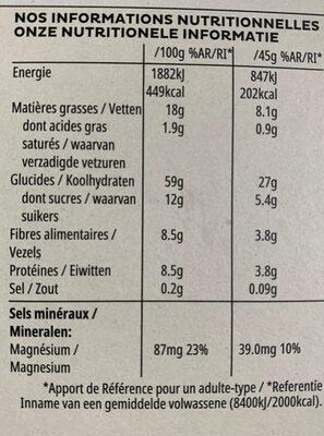 Céréales Extra Sans Sucres AjoutésAmandesCajouCoco - Nährwertangaben - fr