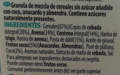 Sugar-free nutty granola - Ingredientes - es