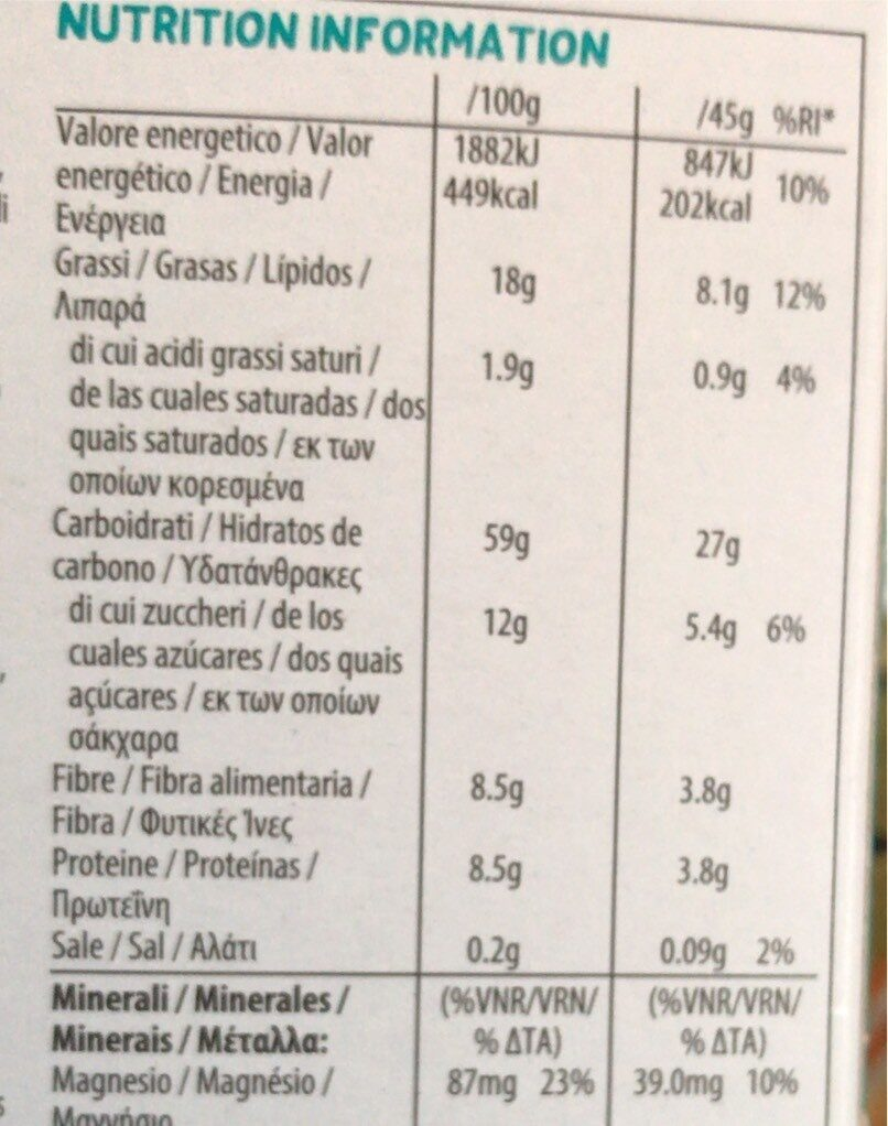 Granola senza zuccheri aggiunti - frutta secca - Valori nutrizionali - it