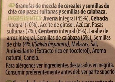 Céréales, graines citrouille & chia - Ingredientes