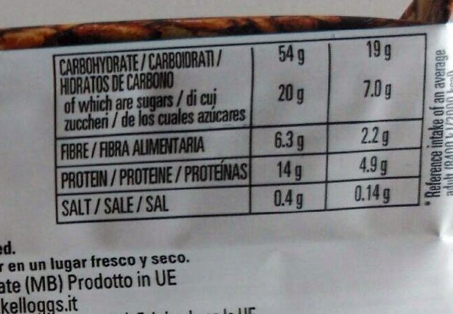 Special K Protein Cereal Bar - Informació nutricional
