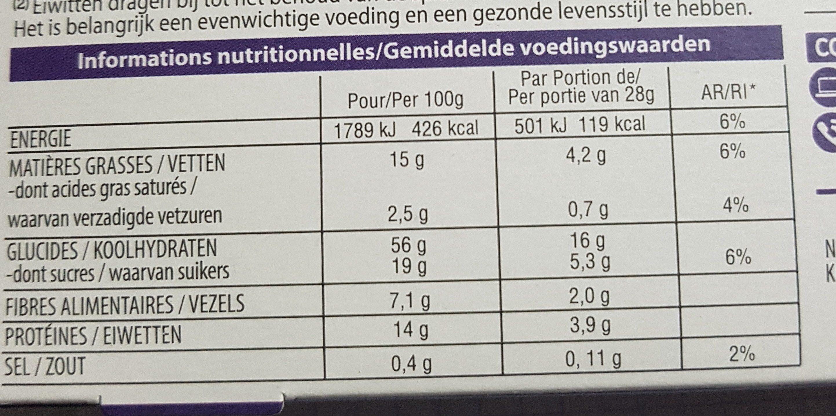Barre proteinée - Informations nutritionnelles - fr