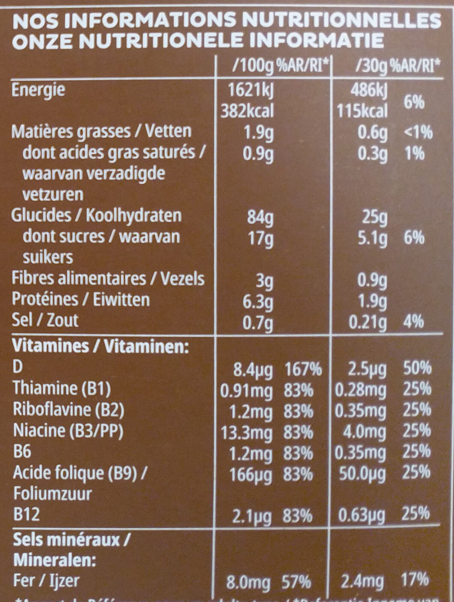 Coco pops - Informations nutritionnelles - fr