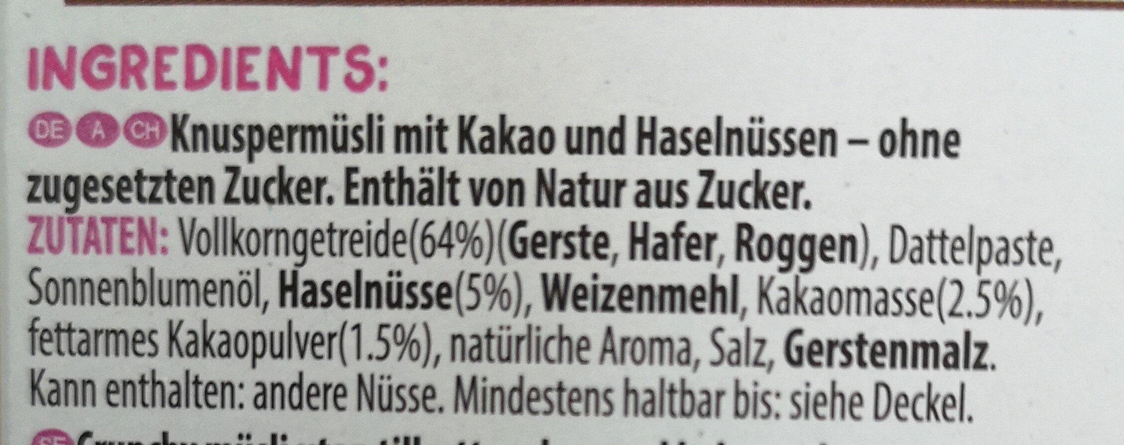 Kelloggs Crunchy Muesli Cacao & Hazelnut - Ingrédients - de