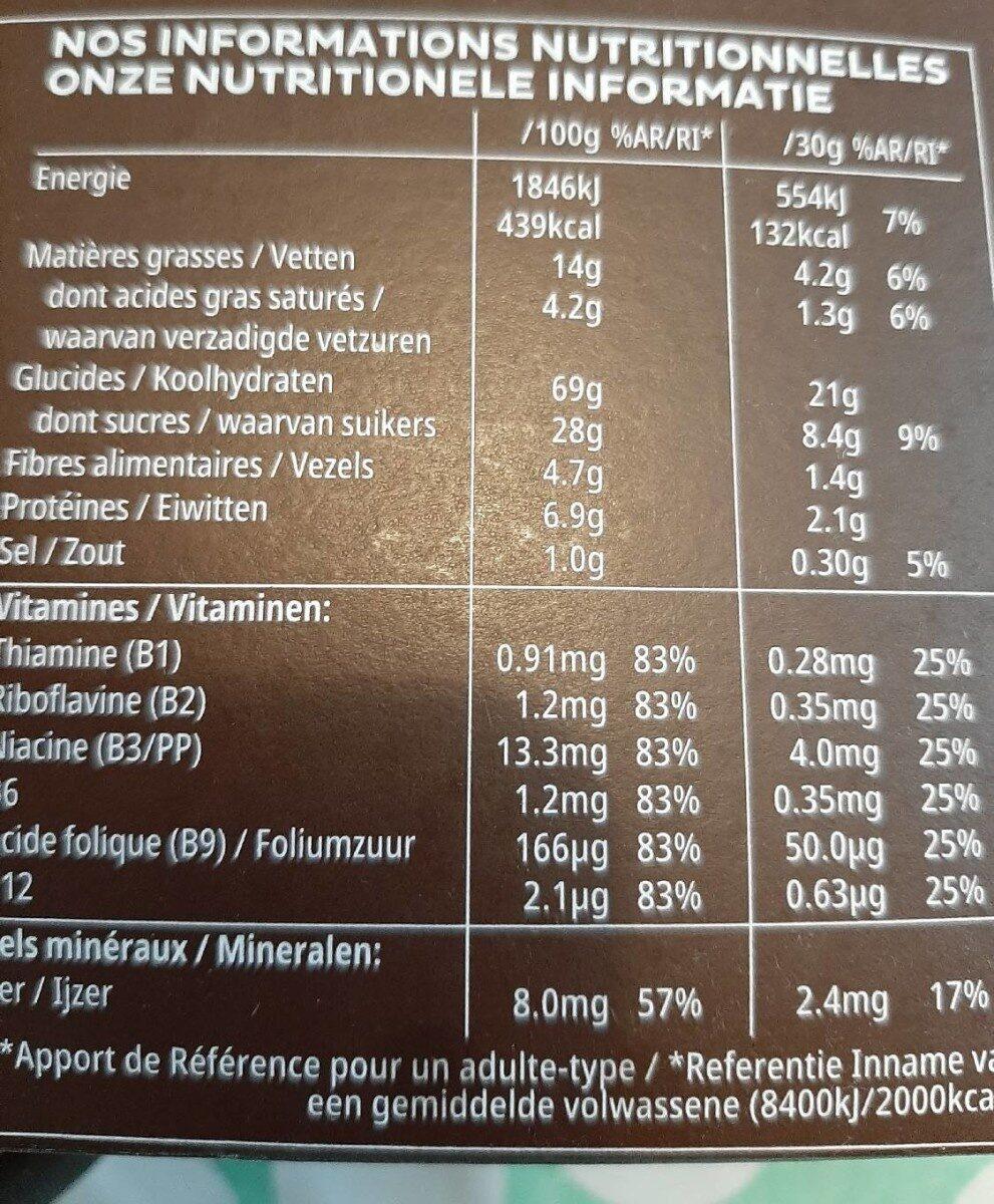 Trèsor Pure Chocolate - Voedingswaarden - fr