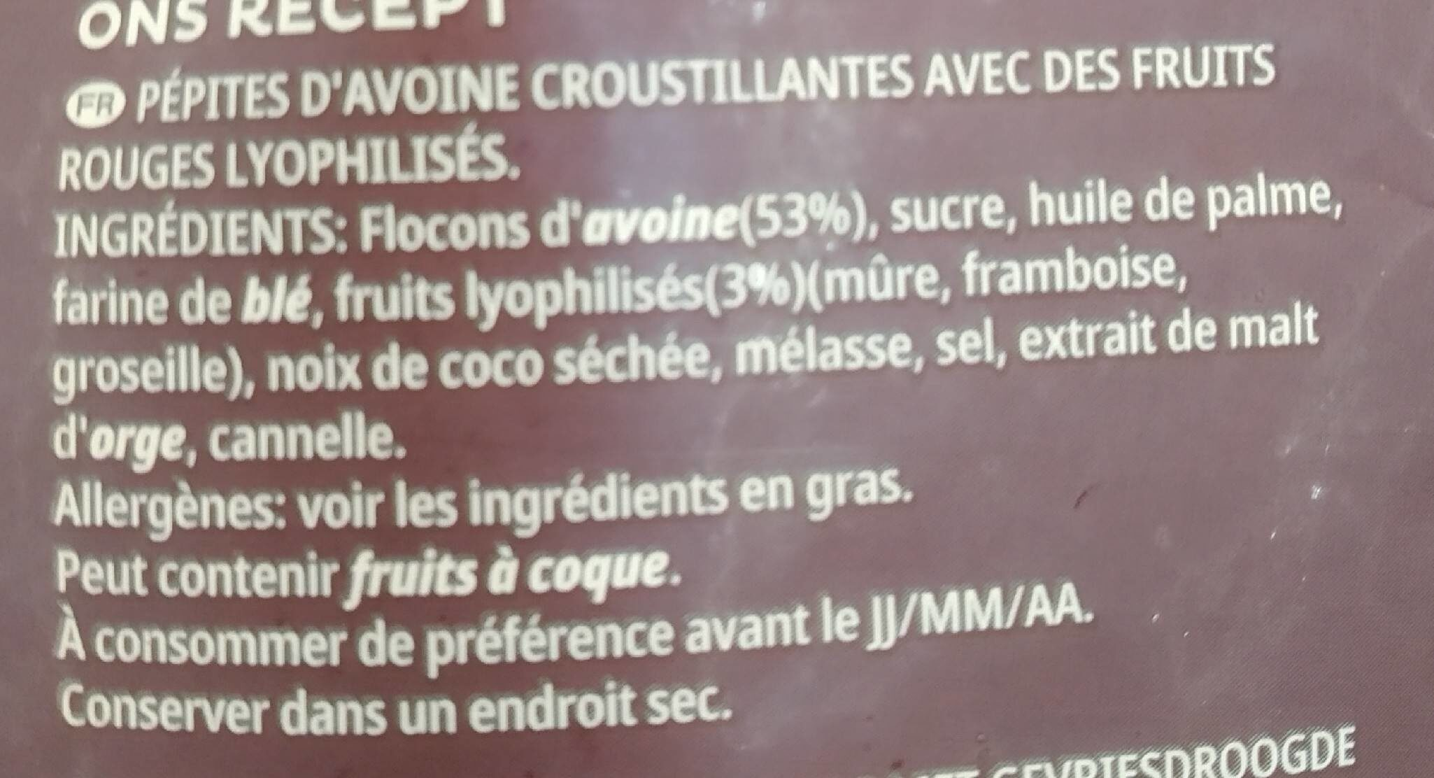Extra Fruits Rouges - Ingrediënten