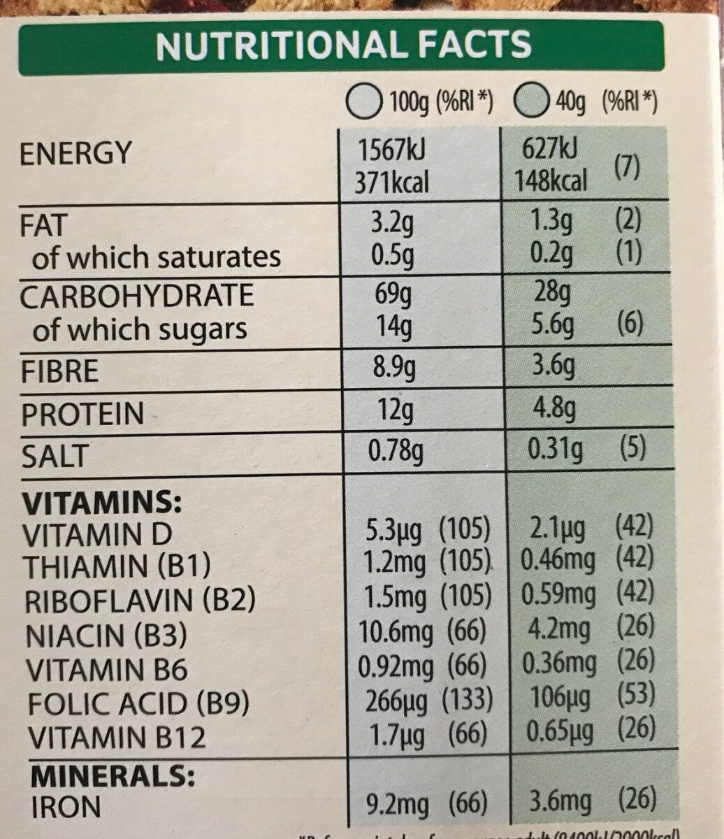 Special K protein clusters &seeds - Nutrition facts