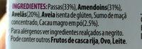 Nuts & raw fruits bar - Ingredientes - pt