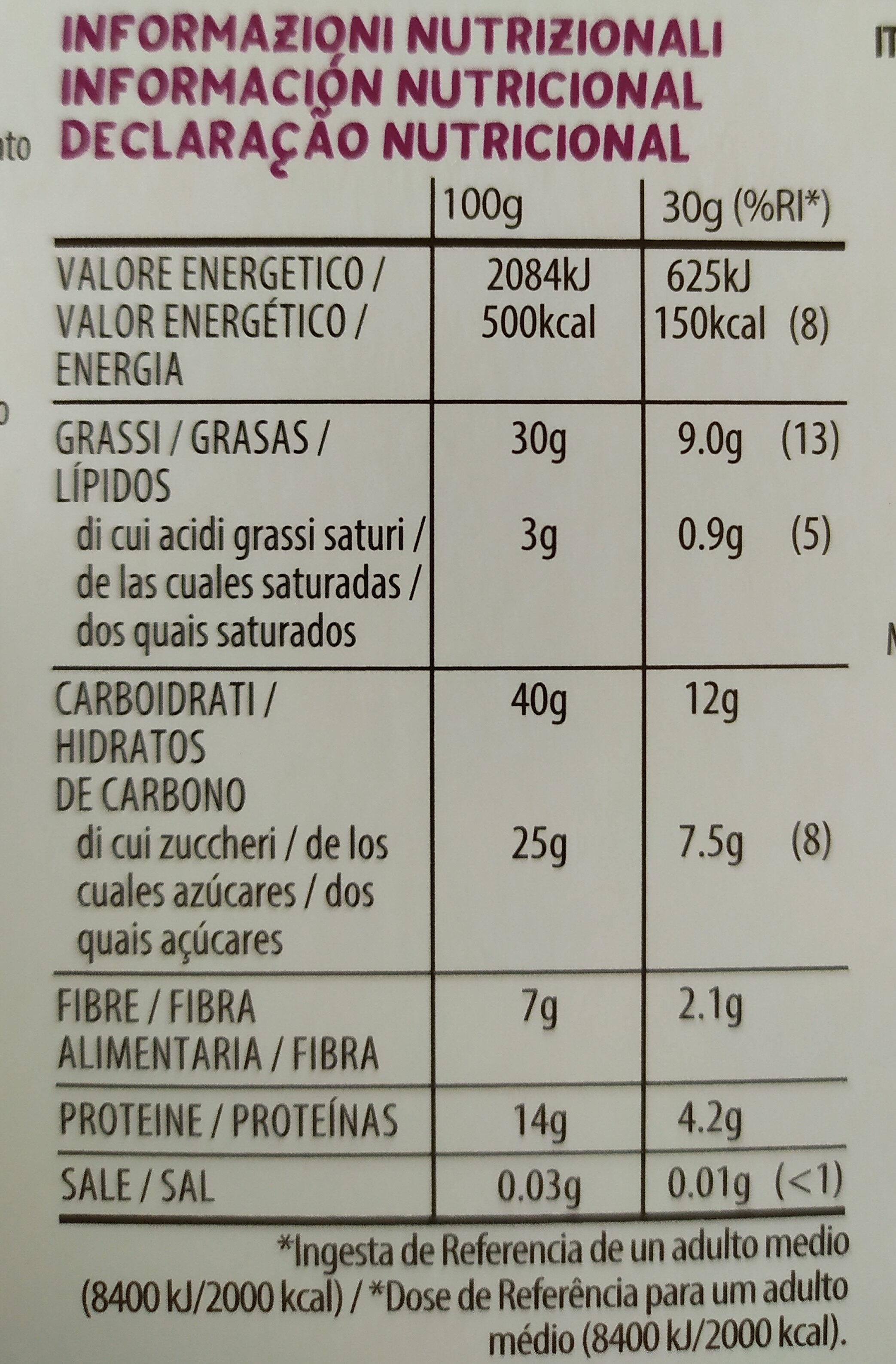 Nuts & raw fruits bar - Informação nutricional - pt