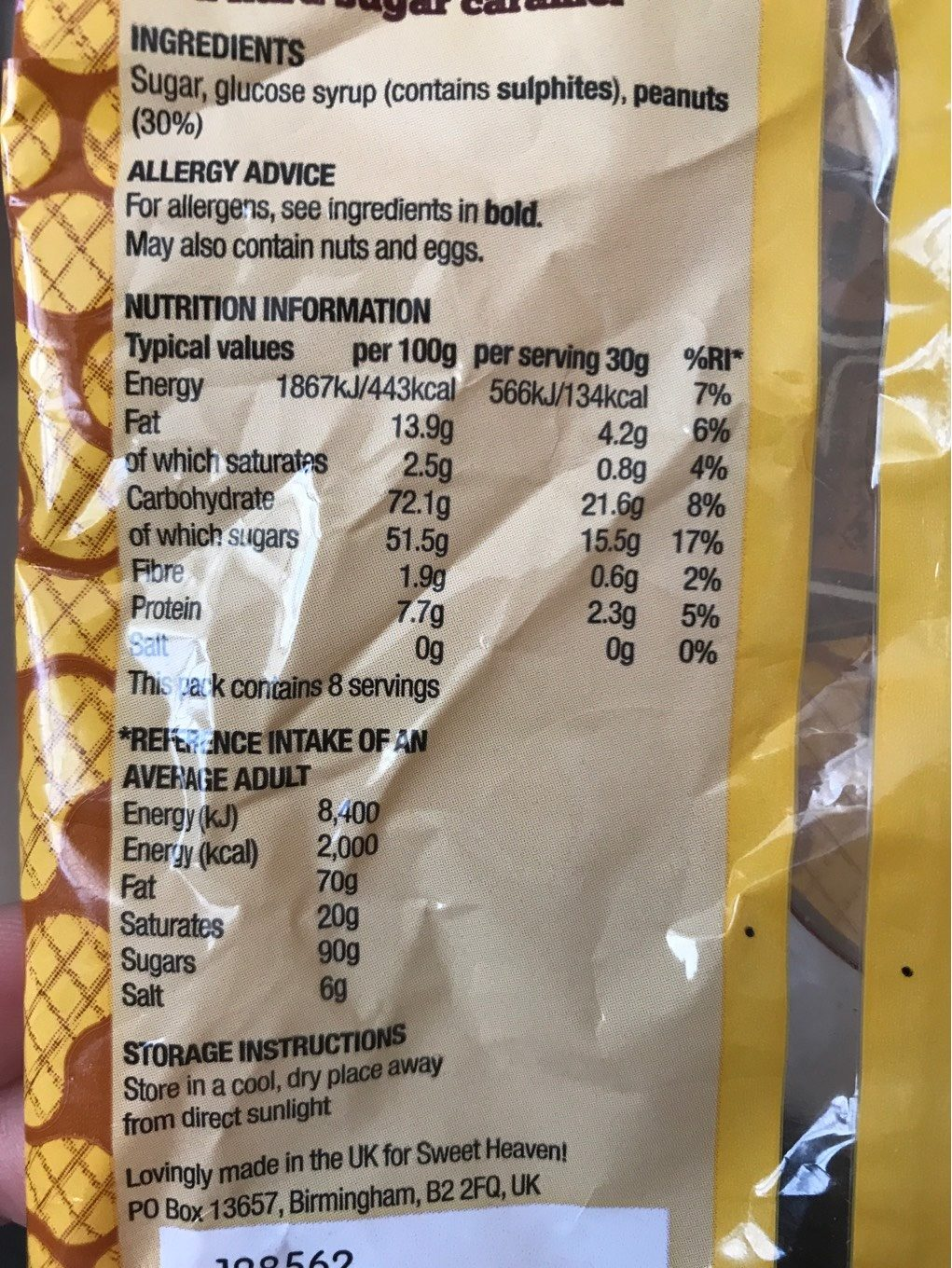 Peanut Brittle - Nutrition facts