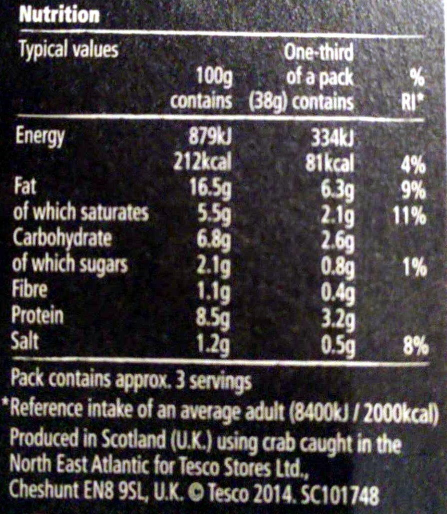 orkney crab pate - Nutrition facts - en