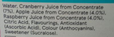 Raspberry & cranberry juice drink - Ingredients - fr