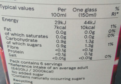Raspberry & cranberry juice drink - Nutrition facts - fr