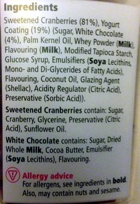 cranberries and yogurt - coated cranberries - Ingredients