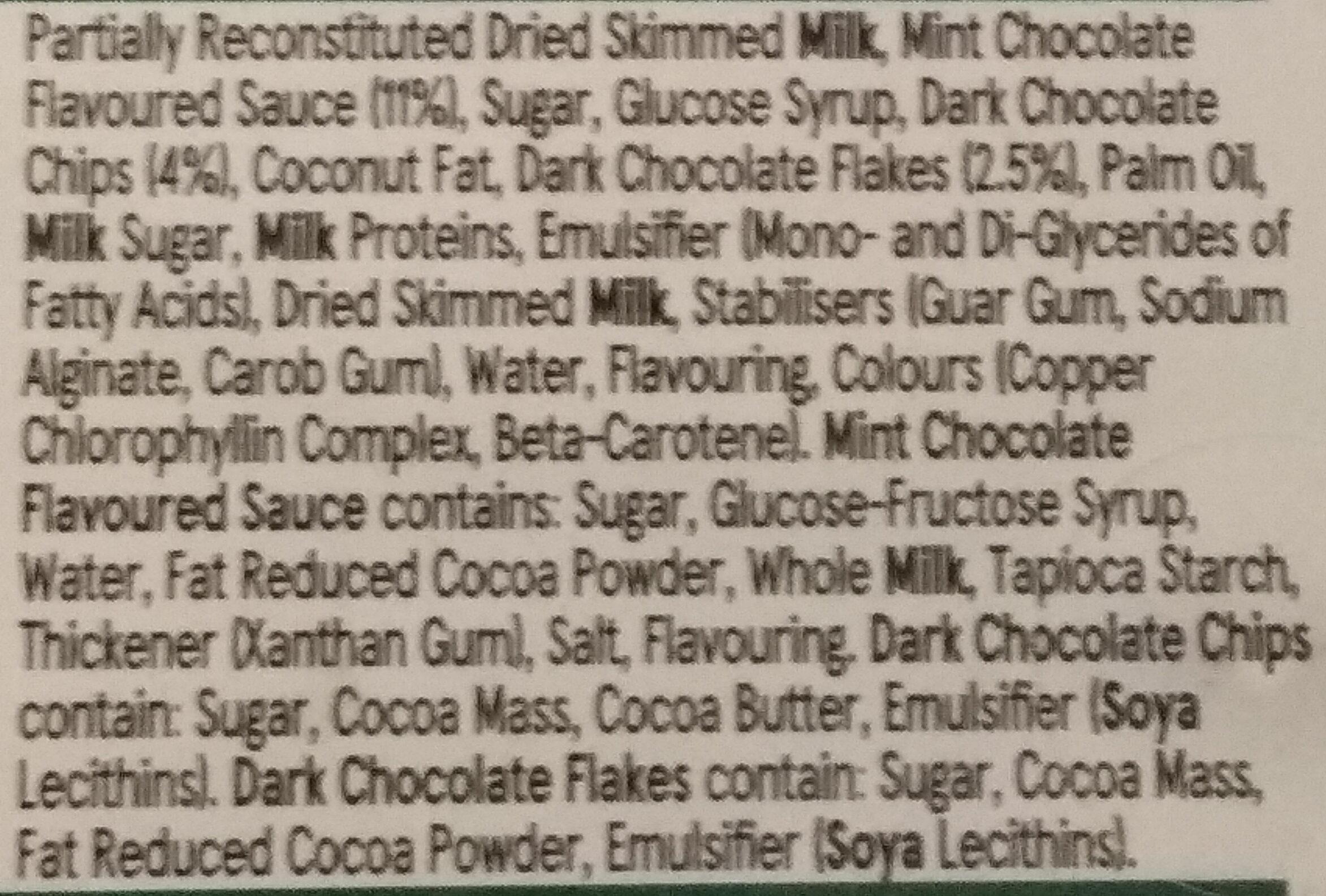 mint chocolate ice cream - Ingredients - en