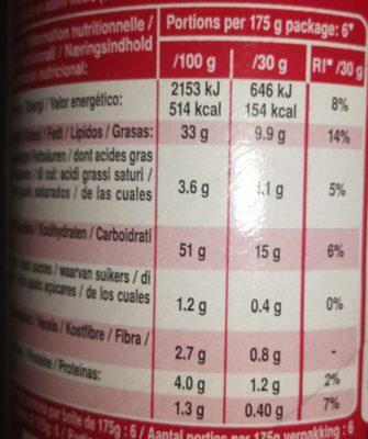 Original snack salé - Valori nutrizionali - fr