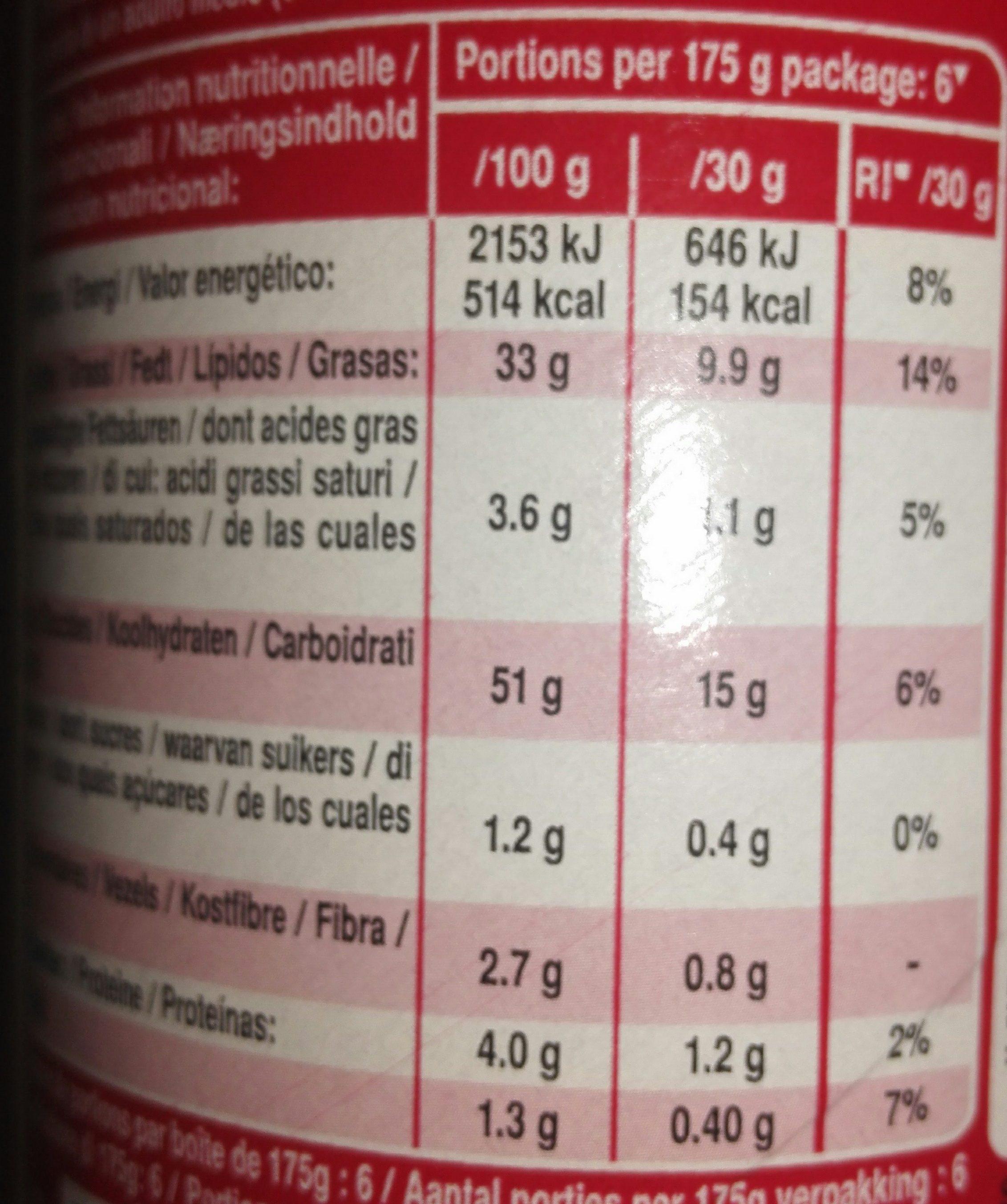 Original - Informations nutritionnelles