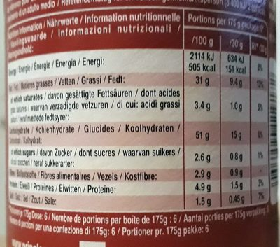 Pringles Smokey Bacon - Voedingswaarden - fr
