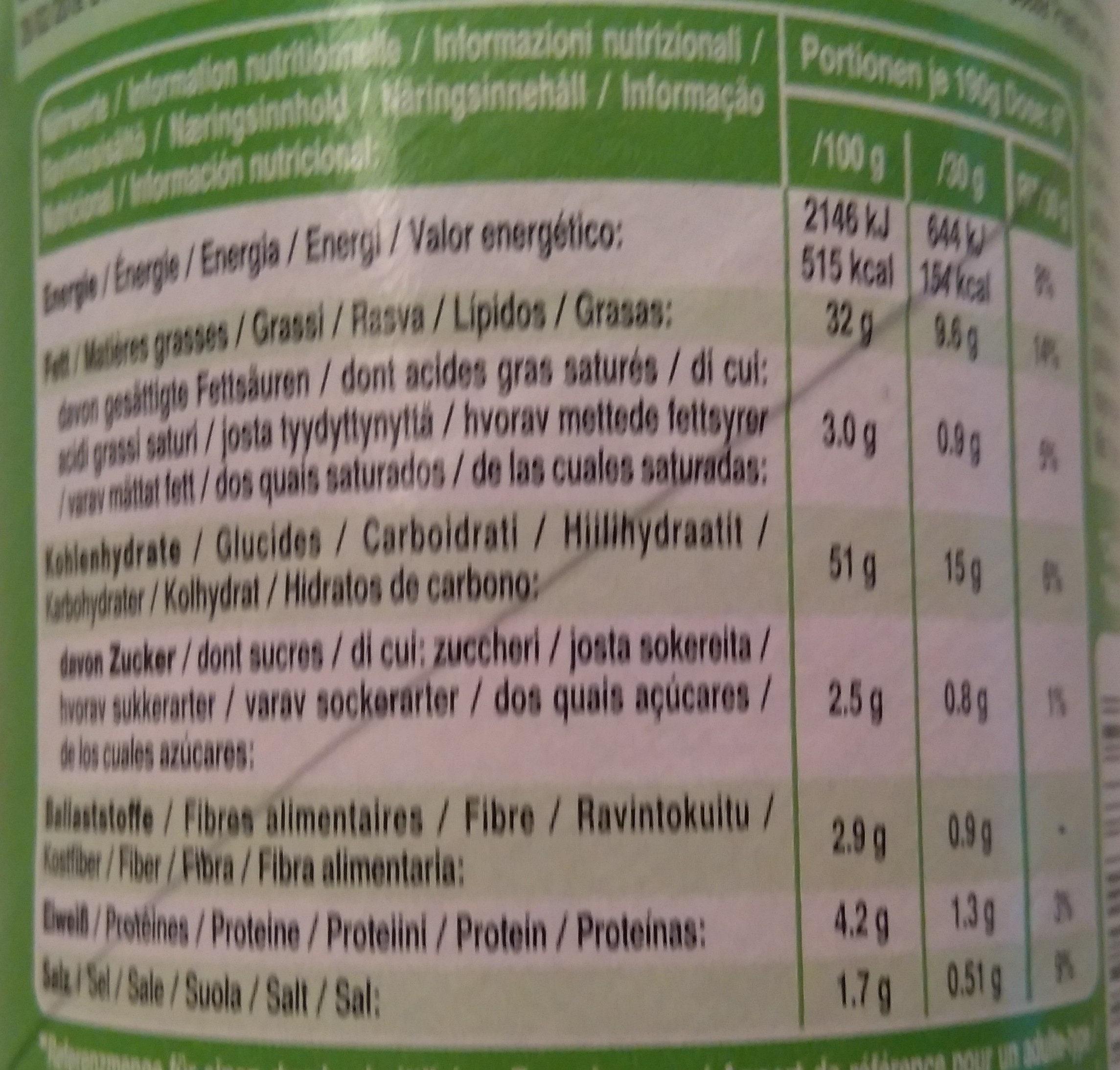 Snack salé goût crème acidulée et oignon - Valori nutrizionali - fr