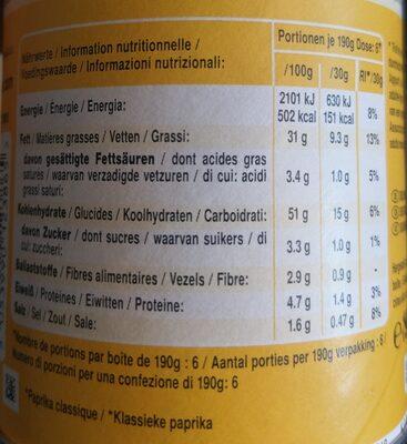 Pringles Classic Paprika - Voedingswaarden - de