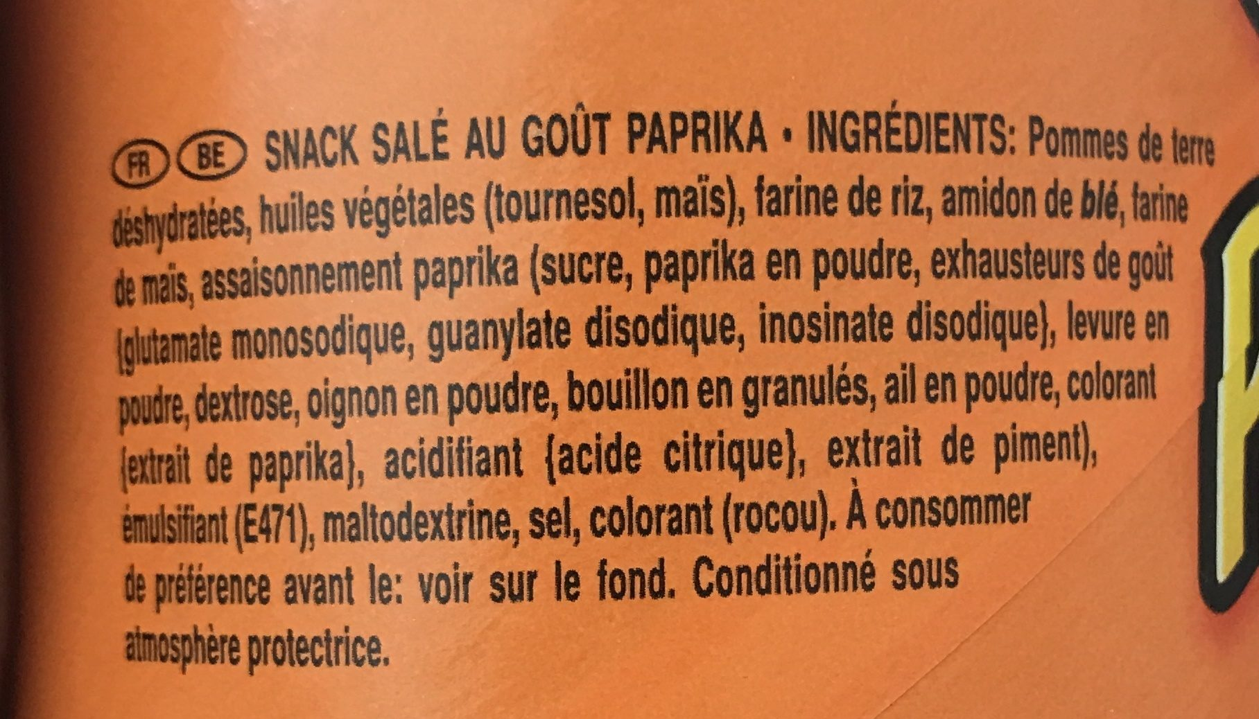 Pringles Paprika - Ingredients