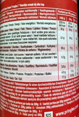 Pringles Original Chips - Información nutricional - es