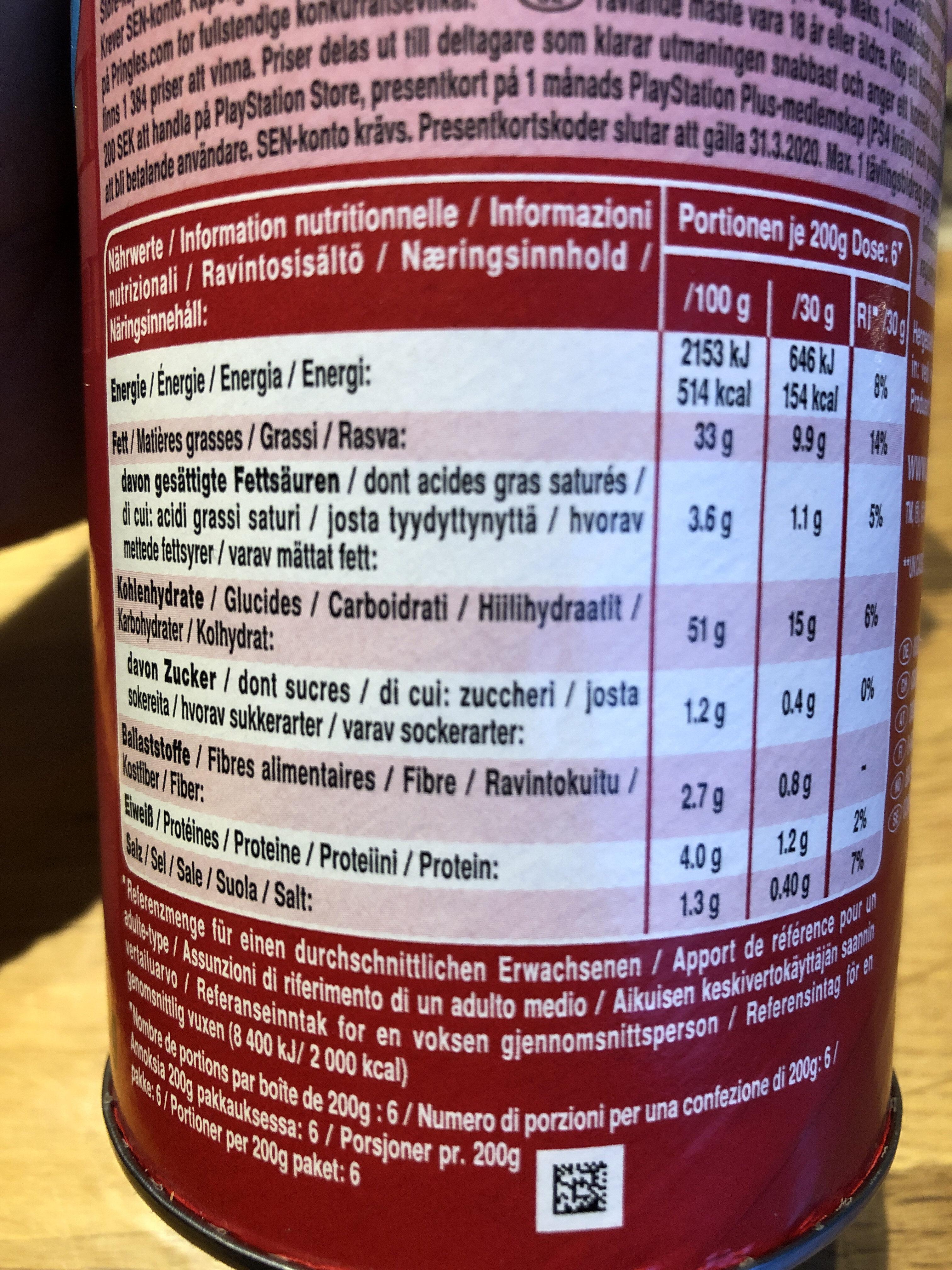 Pringles Original Chips - Informations nutritionnelles - fr
