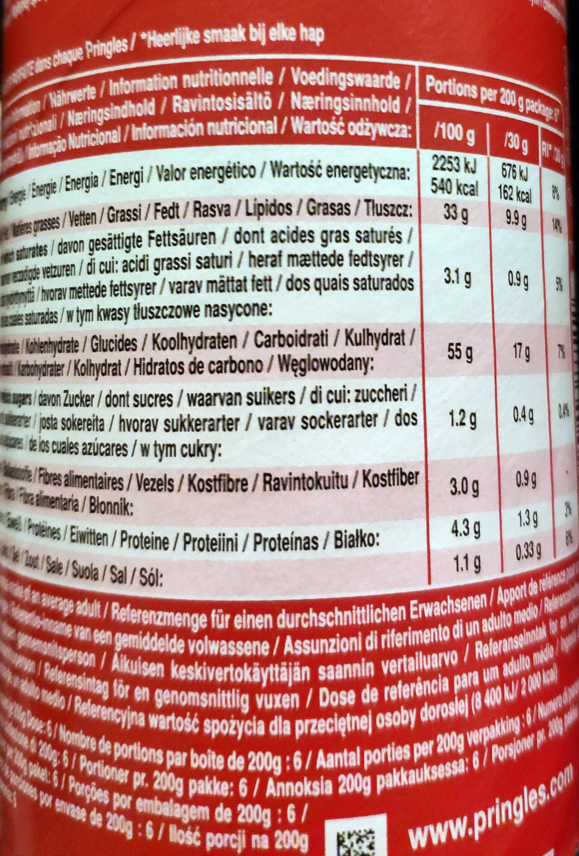 Pringles Original - Informação nutricional - pt