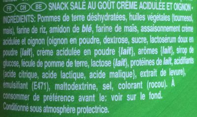 Sour Cream & Oignon - Ingrediënten
