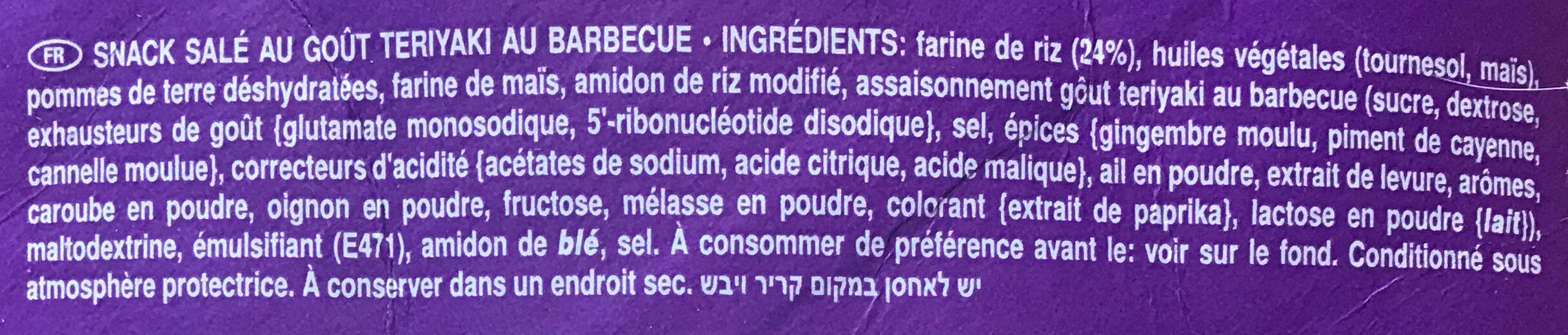 Tuiles Pringles Rice Fusion Japanese Barbecue - Ingrediënten - fr