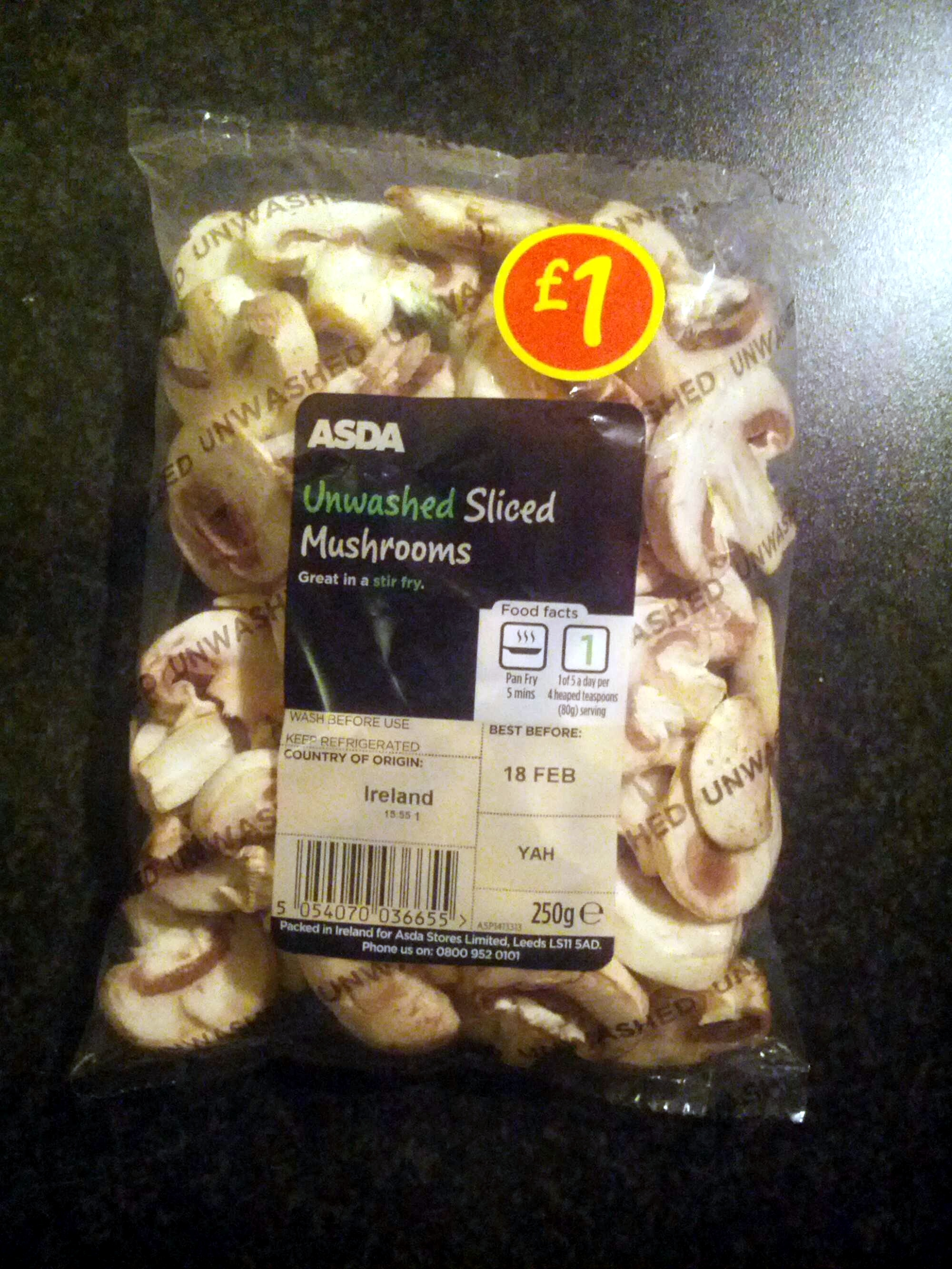 unwashed sliced mushrooms - Product