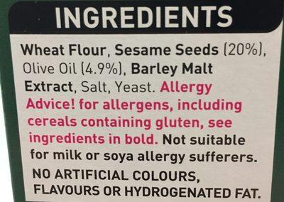 Sesame breadsticks - Ingredients