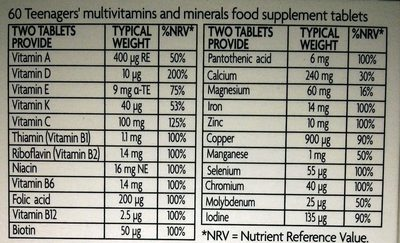 Teenagers' Multivitamins & Minerals - Informations nutritionnelles