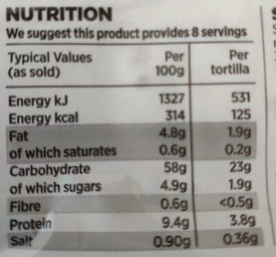 Wheat & corn tortillas - Voedingswaarden - en