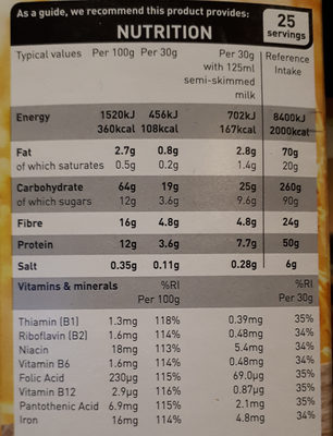 asda bran flakes - Nutrition facts