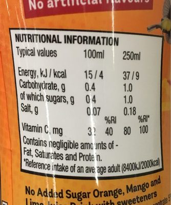 Mango & Lime - Informations nutritionnelles - fr