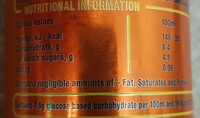 Lucozade Energy drink - Nutrition facts