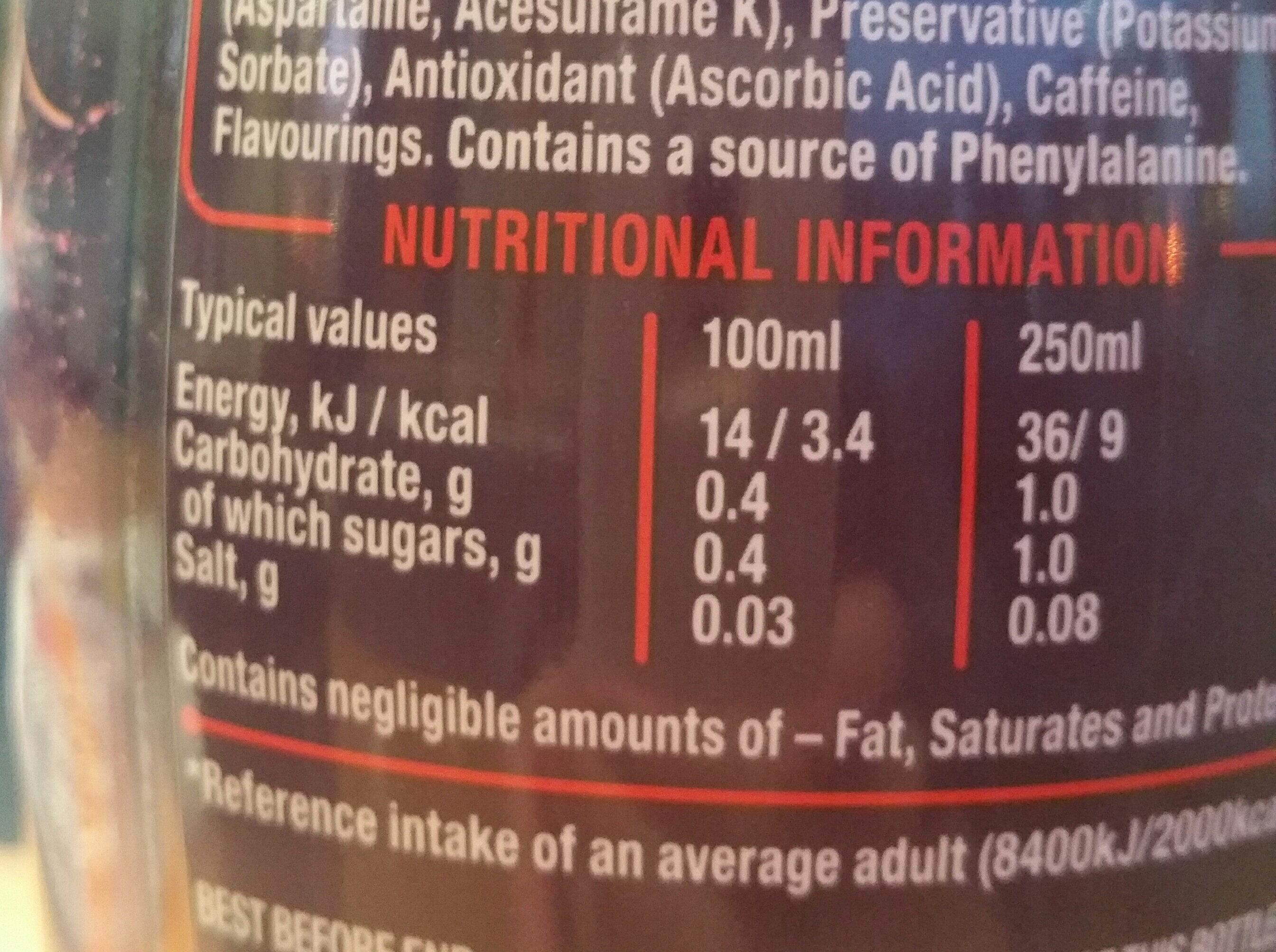 Zero Orange - Valori nutrizionali - en