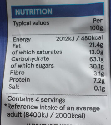 Milk chocolate rice cakes - Nutrition facts