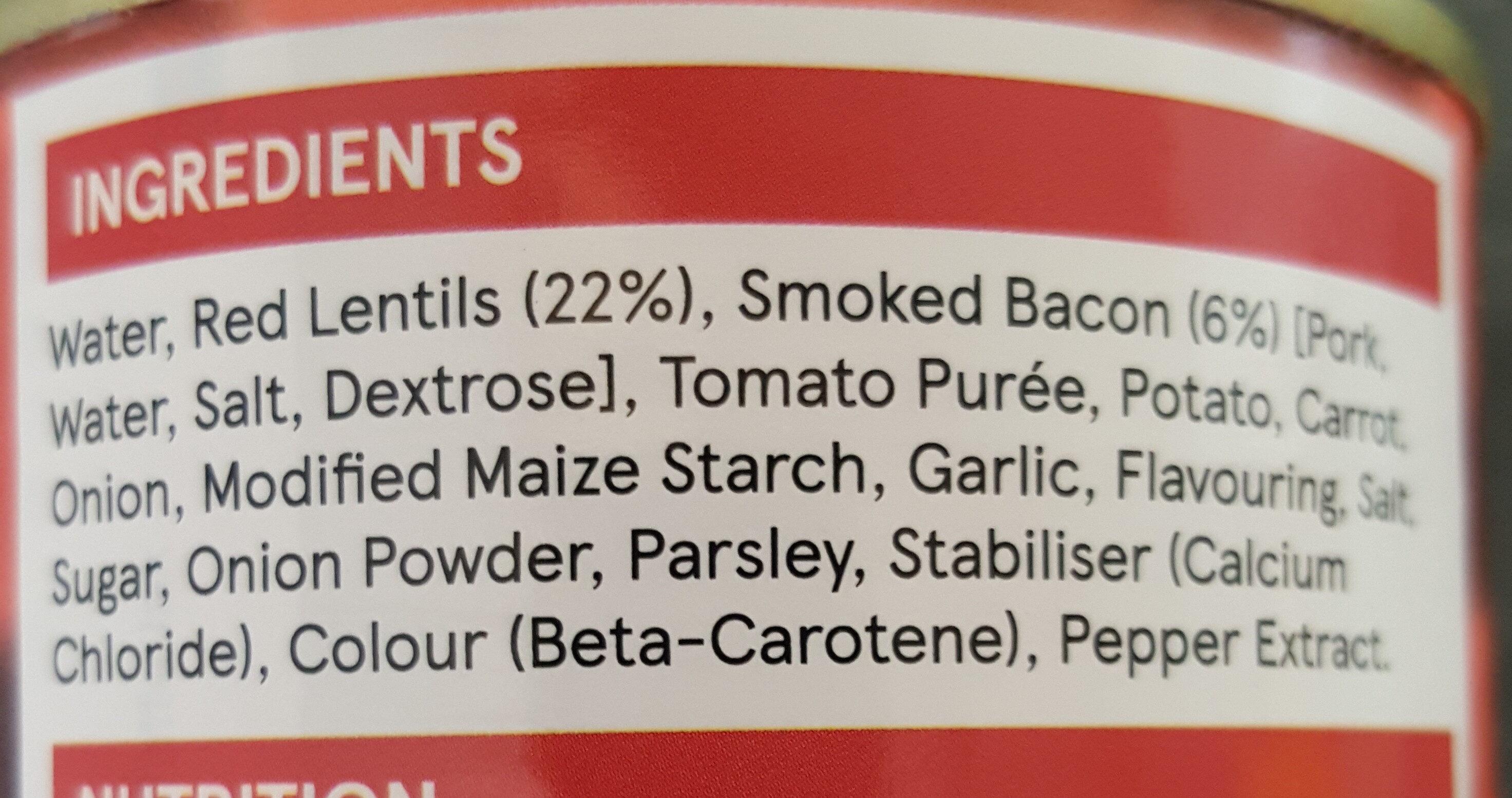 Tesco lentil & bacon soup - Ingrediënten