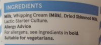 Greek style yogurt - Ingredients