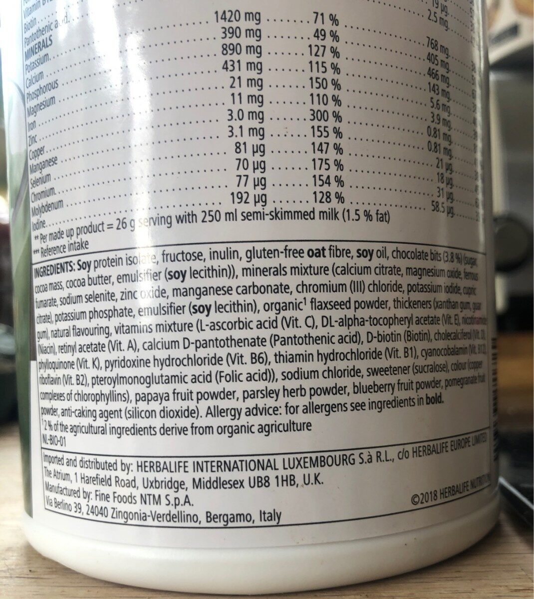 Herbalife Mint choc chip - Nutrition facts - en