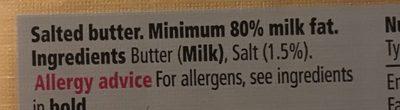 Tesco British Salted Block Butter - Ingrediënten - fr