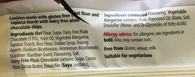 Free From Chocolate Chip Cookie Dairy Free - Ingredients - en