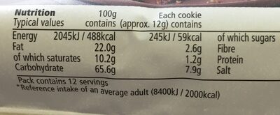 Free From Chocolate Chip Cookie Dairy Free - Nutrition facts - en