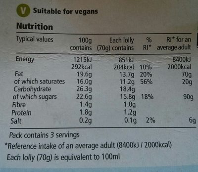 3 Choc Sticks - Nutrition facts