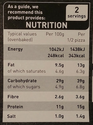 Thin Stonebaked Spicy Meat Feast Pizza - Nutrition facts