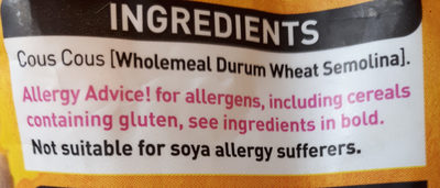 giant wholemeal couscous - Ingredients
